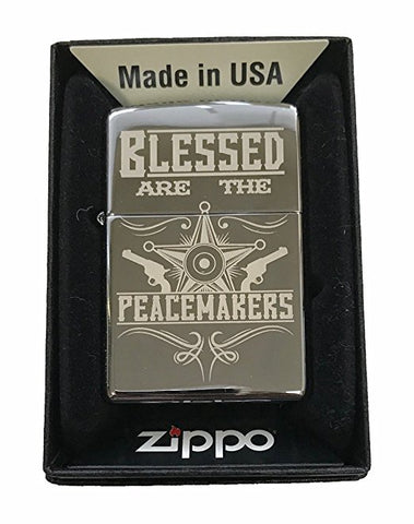 "Zippo Custom Lighter - ""Blessed Are The Peacemakers Blue Line Police Support - High Polish Chrome"