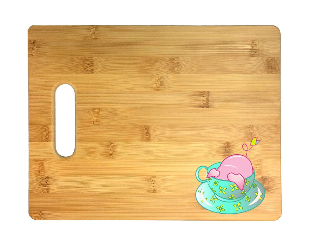 Teacup Pig In A Green Flower Teacup Cute And Adorable 3D COLOR Printed Bamboo Cutting Board - Wedding, Housewarming, Anniversary, Birthday, Mother's Day, Gift