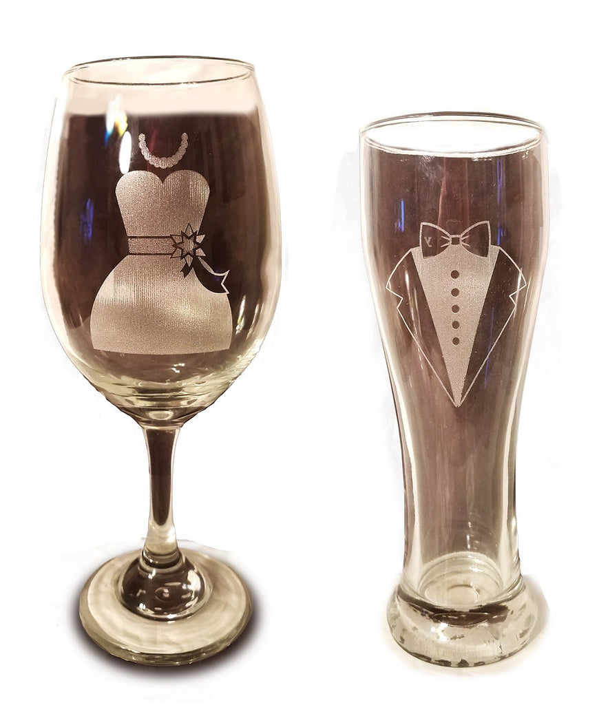 Laser Engraved Bride and Groom Glasses - 20 oz Wine Glass and 15 oz Beer Pilsner Glass - Wedding Toasting Set of 2 - Couples Gifts - Engagement Gift - Original Wedding Gifts - Custom Wedding
