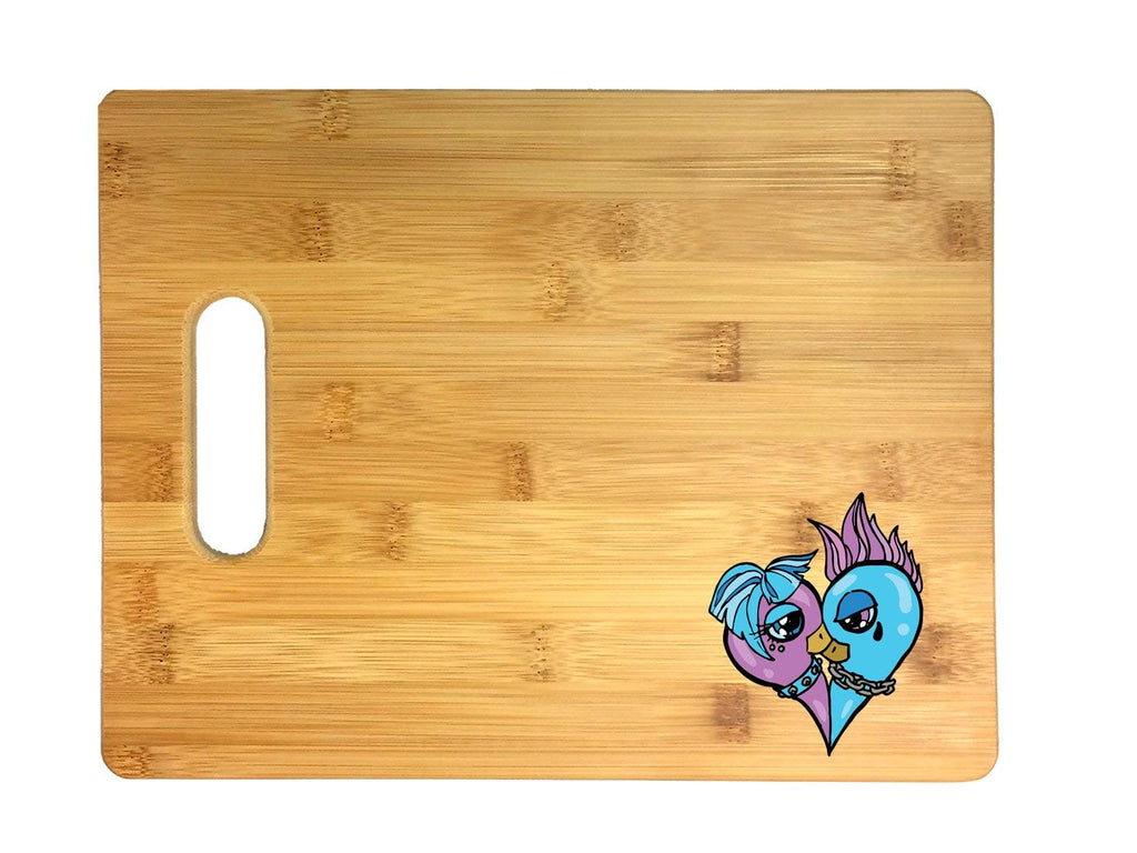 Blue and Pink Punk Dove Heart 3D COLOR Printed Bamboo Cutting Board - Wedding, Housewarming, Anniversary, Birthday, Mother's Day, Gift