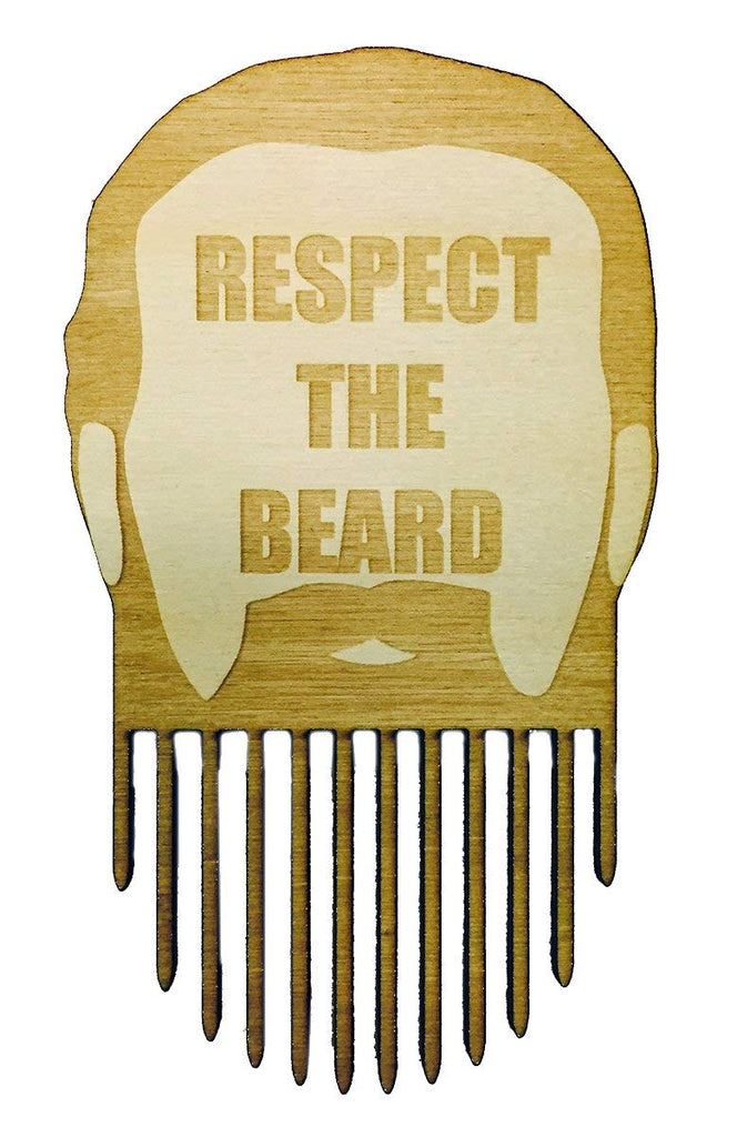 Respect The Beard - Men's Man Beard Novelty Comb Pick - 3D Laser Engraved - Great for All Beards
