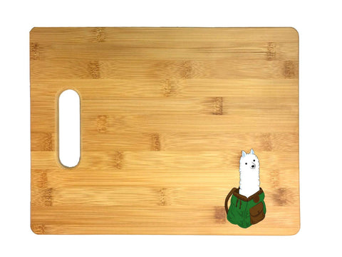 "Alpaca In A Backpack""I'll Pack An Alpaca"" 3D COLOR Printed Bamboo Cutting Board - Wedding, Housewarming, Anniversary, Birthday, Mother's Day, Gift"