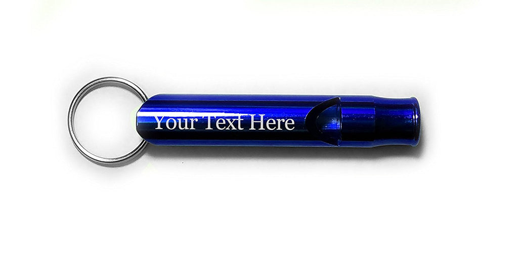 Customized 3D Laser Engraved Personalized Whistle Key Chain Gift Blue