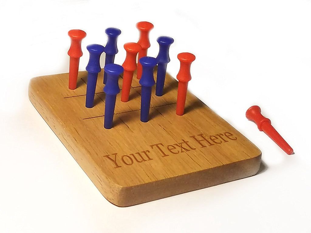 Customized 3D Laser Engraved Personalized Wooden Custom Tic Tac Toe Portable Game