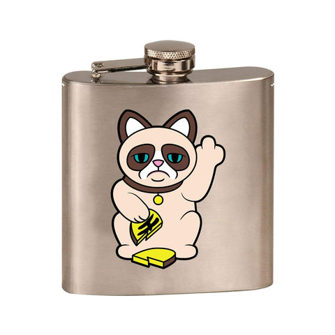 Grumpy Neko Unlucky Lucky Cat With Broken Coin - 3D Color Printed 6 oz. Stainless Steel Flask (Steel Silver)