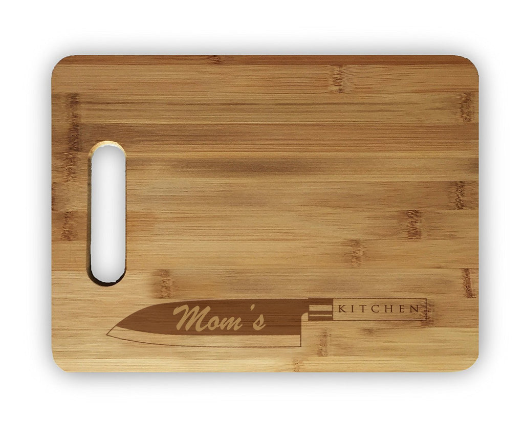 Mom's Kitchen Laser Engraved Custom Bamboo Cutting Board - Wedding, Housewarming, Anniversary, Birthday, Holiday, Gift