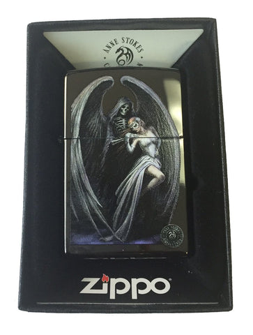 Zippo Custom Lighter - Ann Stokes Artist Grim Reaper w/ Lady Ebony Black 24756-CI400572