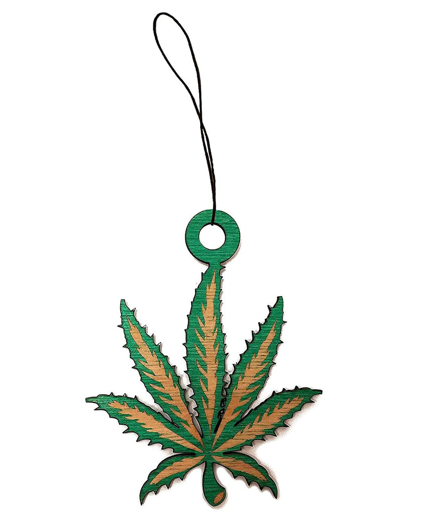 Pot Leaf Detailed Etched Laser Engraved Green Painted Wooden Sillhouette Rear View Mirror Car Charm Dangler