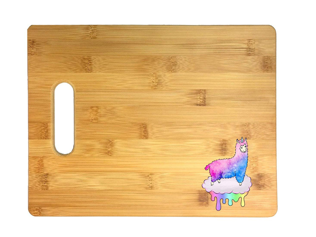 Mystical Fluffy Alpacacorn Standing Gallantly On a Rainbow Dripping Cloud 3D COLOR Printed Bamboo Cutting Board - Wedding, Housewarming, Anniversary, Birthday, Mother's Day, Gift