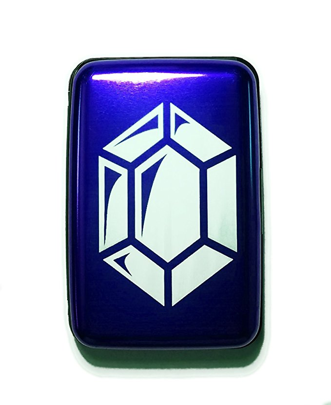 Fantasy Game Gem Currency - Blue Aluminum Hard Credit Card Wallet