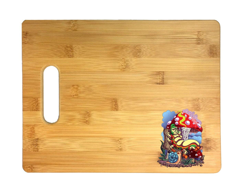Smoking Caterpillar w/Pet Snail & Mushrooms 3D COLOR Printed Bamboo Cutting Board - Wedding, Housewarming, Anniversary, Birthday, Mother's Day, Gift