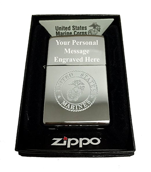 Zippo Custom Lighter - United States Marines Laser Engraved with Earth Anchor Eagle Logo - Regular High Polish Chrome FREE ENGRAVING