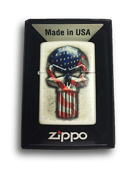 Zippo Custom Lighter - Long Skull American Flag - Regular White Matte  214-CI404274