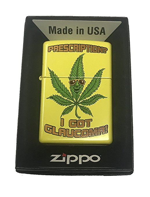 "Zippo Custom Lighter - Weed Marijuana Cool Pot Leaf w/ Sunglasses ""Prescription? I Got Glaucoma!"""