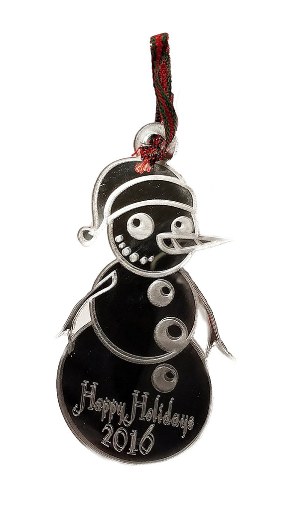Snowman Happy Holidays 2016 Laser Engraved Mirror Coated Acrylic Christmas Tree Ornament Gift Seasonal Decoration