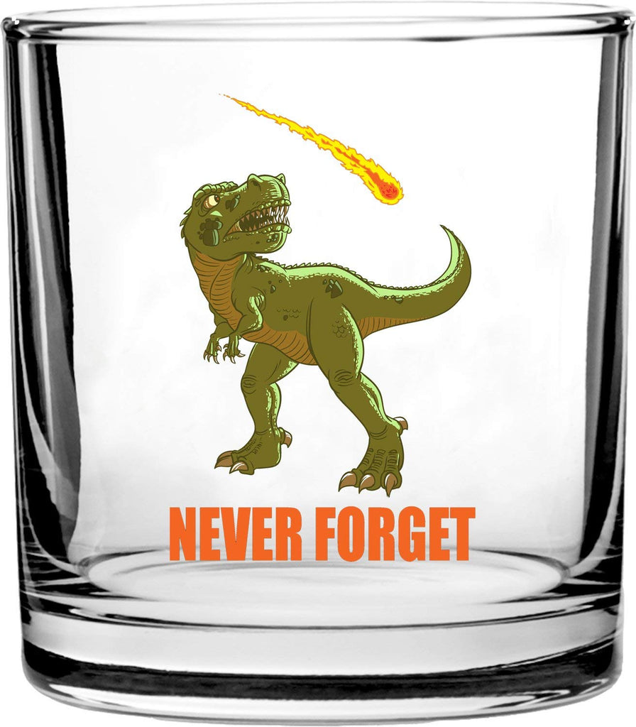 Dinosaur Never Forget Asteroid & Tyrannosaurus Rex Humor - 3D Color Printed Scotch Whiskey Glass 10.5 oz