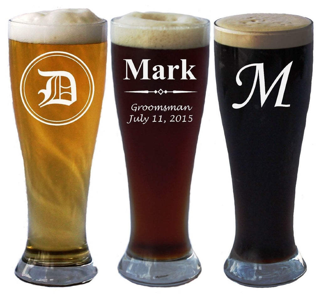 Personalized Pilsner Beer Glass 15 Oz - Wedding Party Groomsmen Father's Day Gifts - Custom Engraved Drinkware Glassware Barware Etched for Free