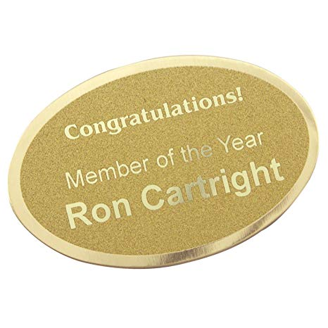 "Custom Laserfrost Gold 1-3/4"" X 2-1/2"" Oval Personalized Plate - Customized Name Plate for Office"