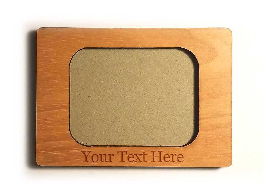 Customized 3D Laser Engraved Personalized 2x1 Inch Wooden Custom Picture Frame Magnet