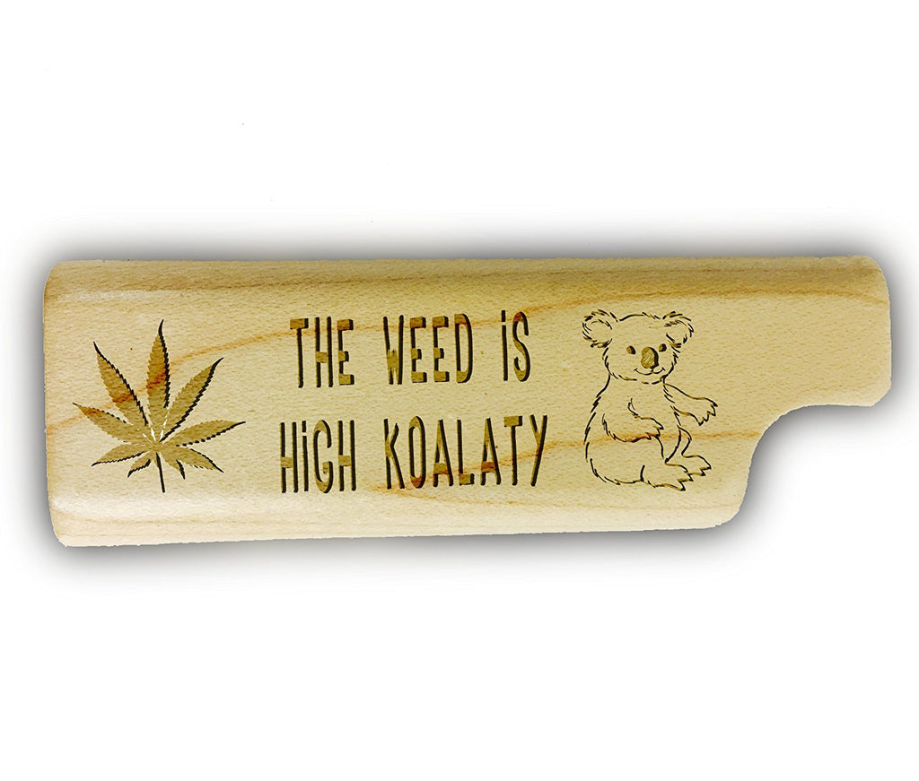 HIGH KOALATY Cute Pot Weed Leaf 3D Laser Engraved - Disposable Lighter Wooden Cover Case