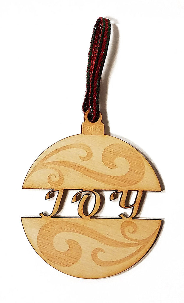 Joy Bulb Bauble Laser Engraved Wooden Christmas Tree Ornament Gift Seasonal Decoration