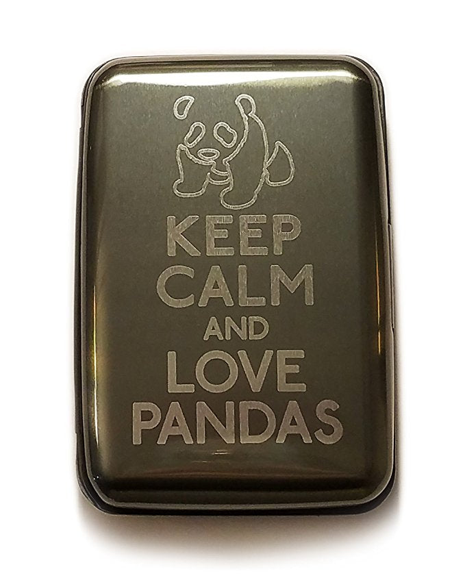 Keep Calm and Love Pandas - Gray Aluminum Hard Credit Card Wallet