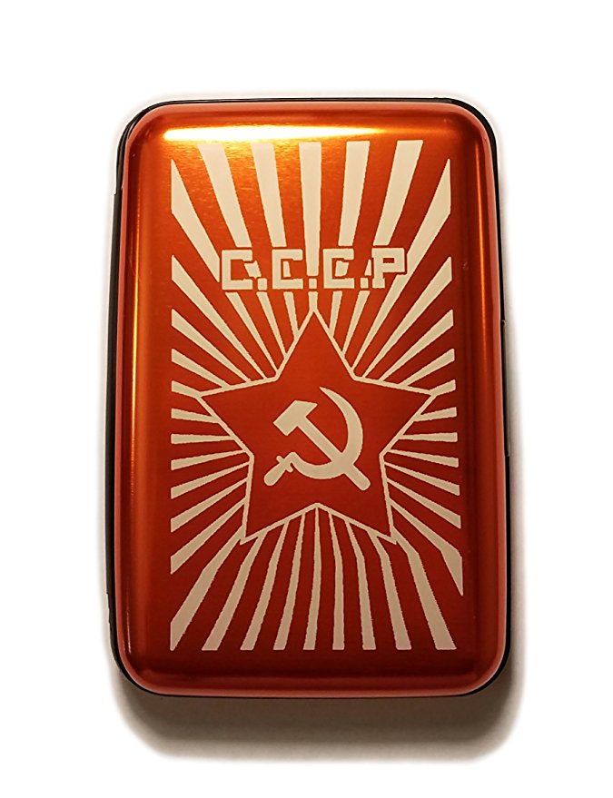 C.C.C.P Russian Hammer and Sickle - Orange Aluminum Hard Credit Card Wallet