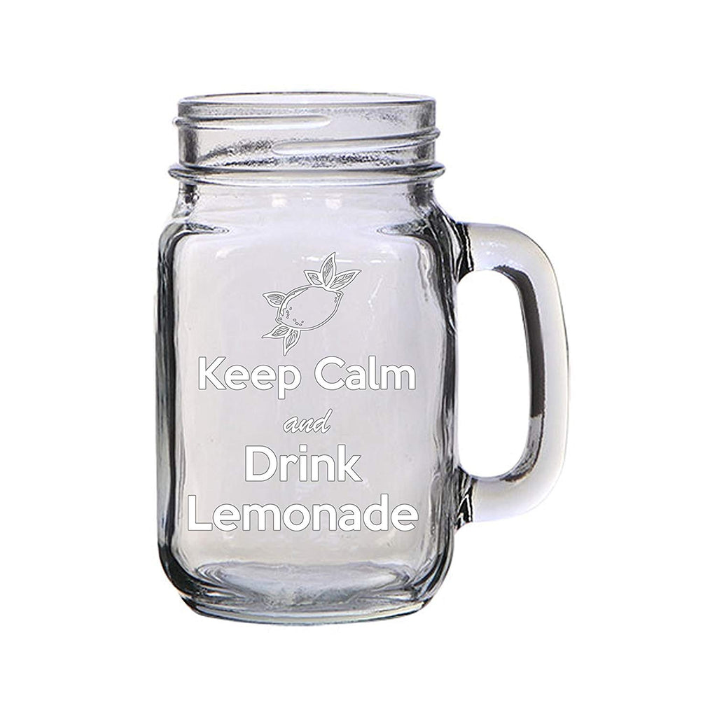 Keep Calm and Drink Lemonade Engraved Etched for Wedding, Engagement Anniversary Bridal Party for Newlyweds 16 oz Mason Jar Glass Mug for Lemonade Enthusiasts