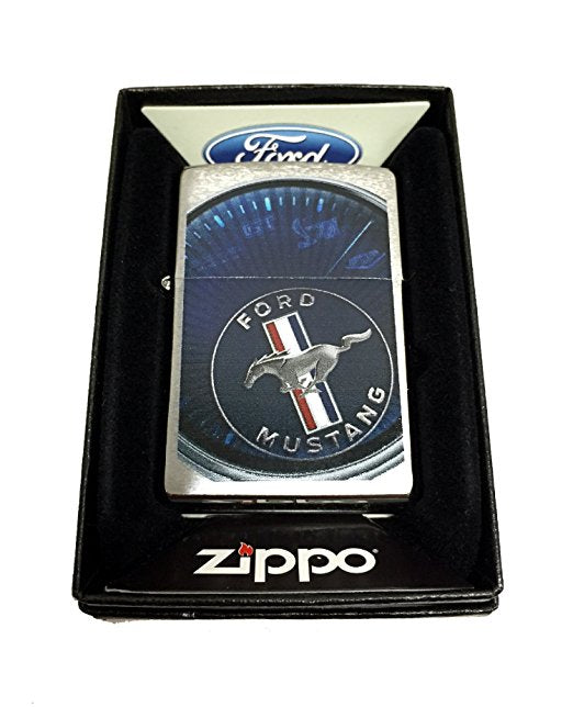 Zippo Custom Lighter - Ford Mustang Spedometer - Regular Brush Finish Chrome