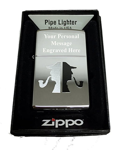 Zippo Custom Lighter - Classic Detective Pipe Man Silhouette - Regular High Polished Chrome FREE ENGRAVING