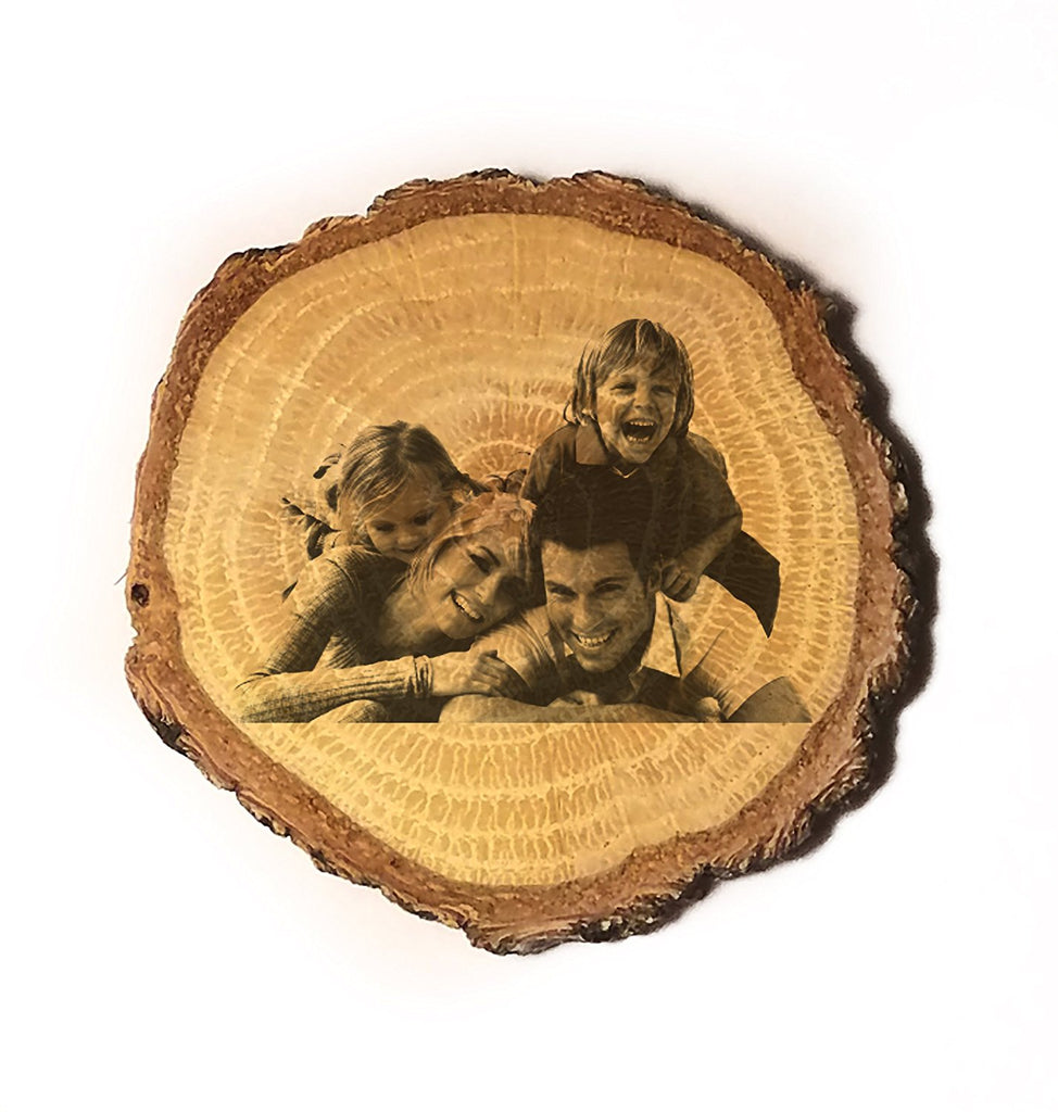 Customized 3D Laser Engraved Personalized Wooden Rustic Log Custom Magnet with Your Photo