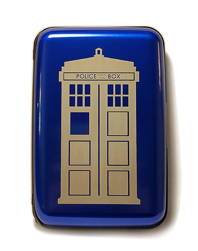 Blue Police Box Time Travel Device - Blue Aluminum Hard Credit Card Wallet