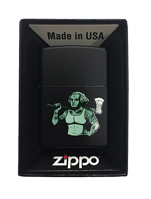 Zippo Custom Lighter - George's Axe Free Masons - Regular Black Matte