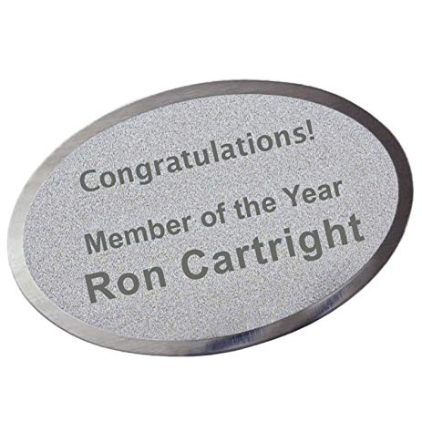 "Custom Laserfrost Silver 1-3/4"" X 2-1/2"" Oval Personalized Plate - Customized Name Plate for Office"