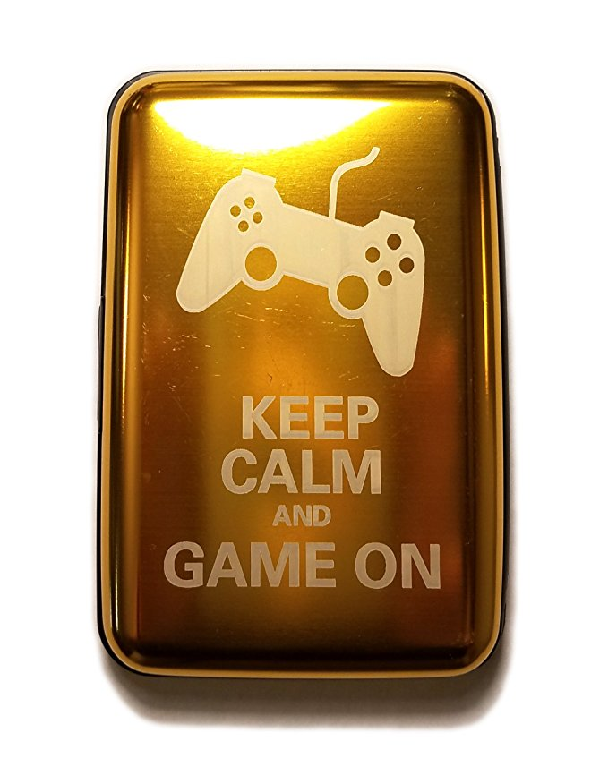 Keep Calm Game On - Yellow Aluminum Hard Credit Card Wallet