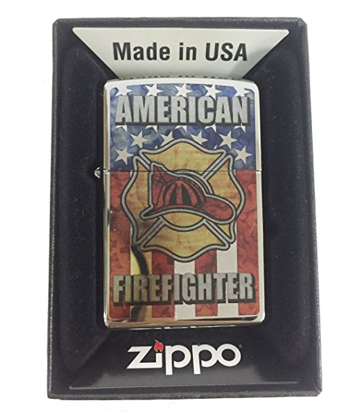 Zippo Custom Lighter - American Firefighter Shield USA Flag Logo Fuzion - High Polish Chrome
