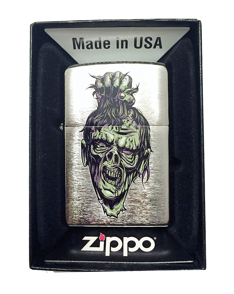 Zippo Custom Lighter - Zombie Head Hair Pulling - Regular Brush Chrome