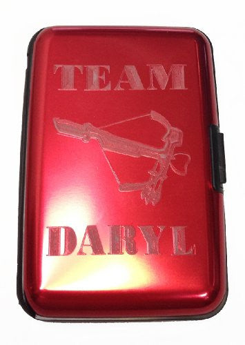 Team Daryl Zombie Dead TV Show - Red Aluminum Hard Case Wallet