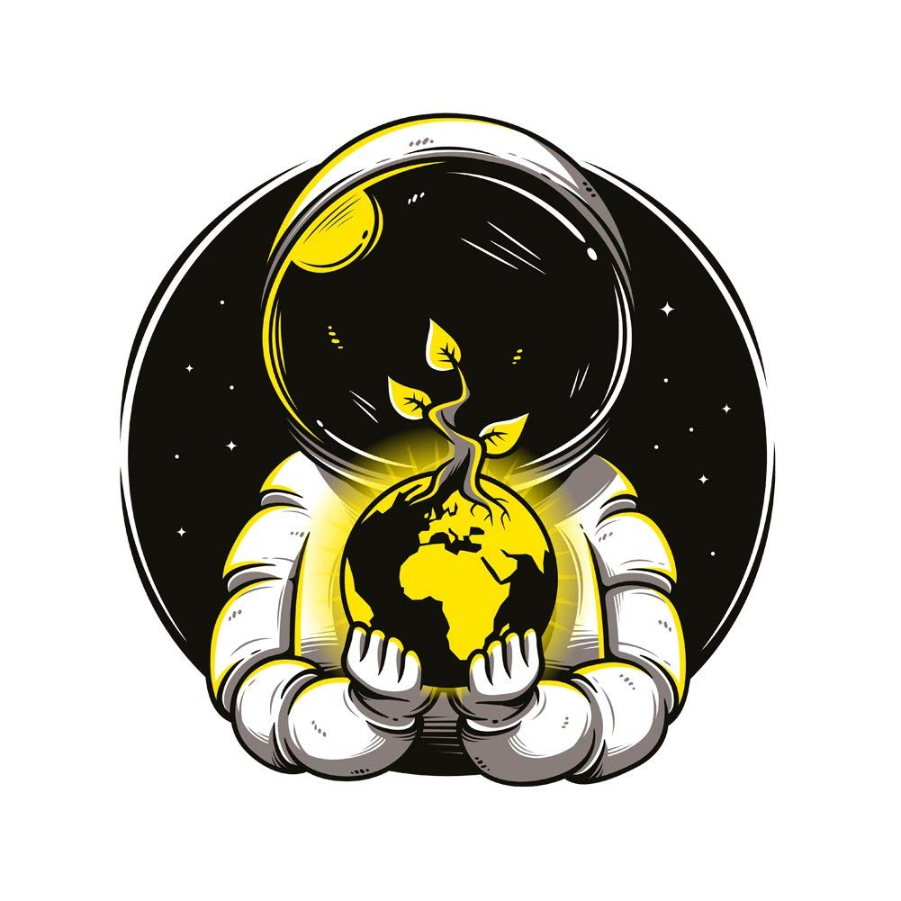 Another World Astronaut Holding Budding Earth Vinyl Sticker