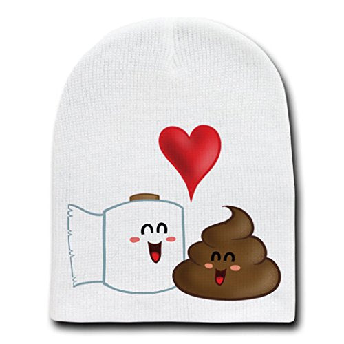 'Best Friends' Funny Toilet Paper & Poop in Love - White Adult Beanie Skull Cap Hat