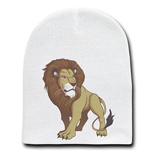 'Lion' Big Cat Standing - White Adult Beanie Skull Cap Hat
