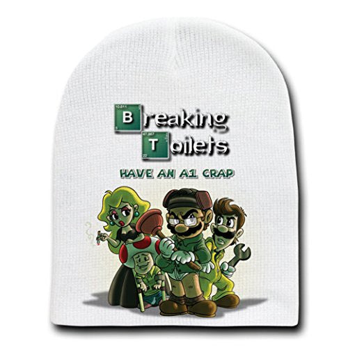 'Breaking Toilets' Funny Video Game Parody - White Adult Beanie Skull Cap Hat