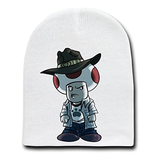 Parody 'Walking Plumbers' As Carl Zombie - White Adult Beanie Skull Cap Hat