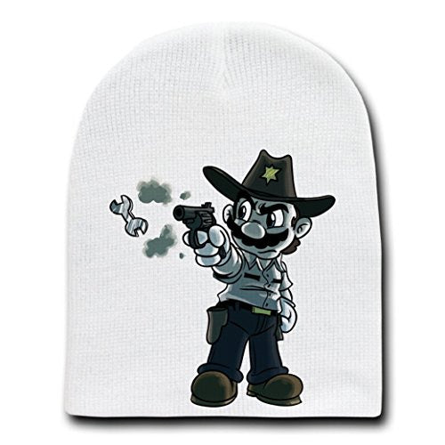 Parody 'Walking Plumbers' As Sheriff Rick Zombie - White Adult Beanie Skull Cap Hat