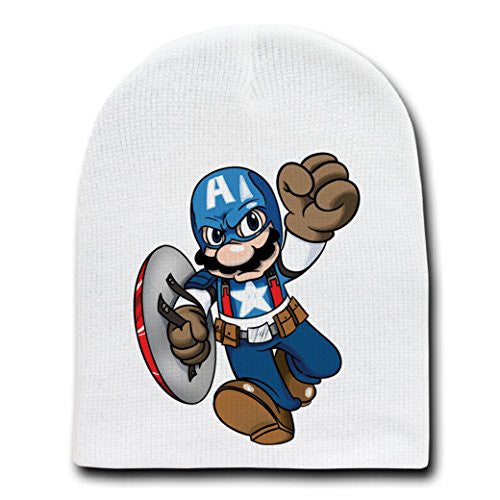 Video Game Parody 'The Plungers' As The Captain - White Adult Beanie Skull Cap Hat