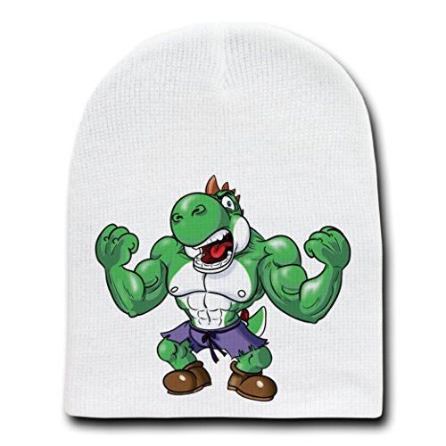 Video Game Parody 'The Plungers' The Green Strong Monster - White Adult Beanie Skull Cap Hat