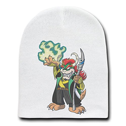 Video Game Parody 'The Plungers' As Loki - White Adult Beanie Skull Cap Hat