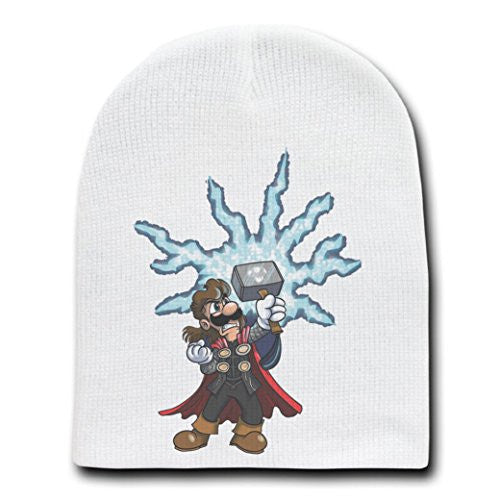 Video Game Parody 'The Plungers' As Norse Mythology GOD - White Adult Beanie Skull Cap Hat