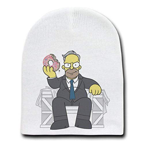 'Homer Underwood' Parody of Political TV Show Logo - White Adult Beanie Skull Cap Hat