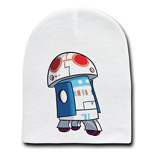 'Plumbing Wars' Rolling Beeping Robot Video Game Parody - White Adult Beanie Skull Cap Hat